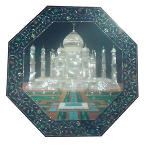 Black Octagon Marble Dining Table Precious MOP Tajmahal Floral Inlay Decors B451