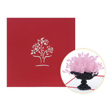 PW_ CO_ Creative Rose Flower 3D Pop Up Paper Greeting Card Valentine's Day Bir