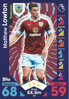 BURNLEY MATCH ATTAX 2016 2017 16/17 CHOOSE YOUR BASE CARDS:  #37-54