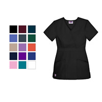 Sivvan Womens Uniforms Mock Wrap Nurse Medical Scrub Top Fit Crossover Semi-V