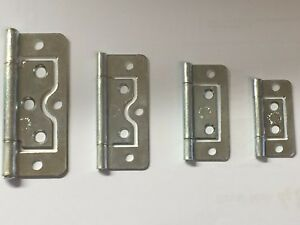 Chrome /Silver / Zinc Flush Hinges Cabinet Door Cupboard Toy Box Various Sizes