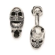 Sterling Silver Antiqued Moveable Skull Cuff Links MSRP $247