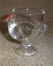Vintage Chicken Egg Cup France French Hen Clear Glass RARE Red Eyes Kitchenware