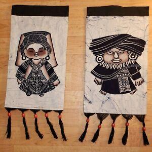 Handmade Batik Wall Hanging Pair Vintage Fabric Beaded Tapestry Bouyei Folk Art