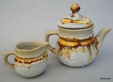 Laurentian Teapot & Creamer Jug Tundra Lava Drip Canadiana Art Pottery 13oz mini