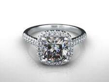 Certified Diamond Engagement Ring 2 Carat Cushion Cut 14k White Gold Bridal Ring