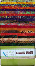 Island Batik Glowing Embers Orange  Purple Green Batiks Jelly Roll Strips 40