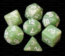 7 Piece Polyhedral Dice Set - Sea Serpent Pale Green Marble - Green Bag