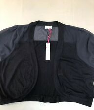 M&S Per Una Bolero Cardigan Size 20 Navy Blue Wool Chiffon Spencer Rrp £25 Bnwt