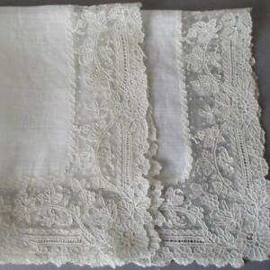 Antique Sheer Linen + Handmade POINT DE GAZE Needle Lace Handkerchief * WEDDING