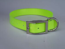 "Dog Collar Terrier - 3/4"" x 19"" Hunting, Pet, Fox, Pig Yard Collar - Fluro Lime"