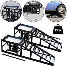 Tech7 Vehicle Car Ramp Lift 2 Ton Hydraulic Jack Garage Heavy Duty Black Pair
