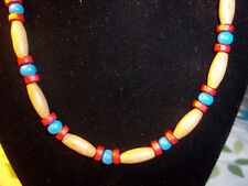 Handmade 19 inch RED and BLUE Wood Bead NECKLACE CHOKER C-78