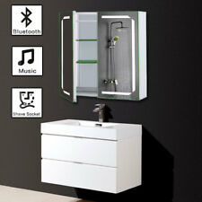 Demister LED 2Door Bathroom Mirror Lights Cabinet Bluetooth Shaver Socket Sensor