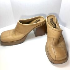 "Sketchers Women's Size 7.5 Mules / Clogs 3 1/2"" Platform Heels Golden Tan"