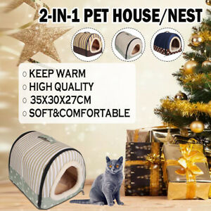 Dog Pet Cat Bed House Portable Puppy Warmer Kennel Cave Nest Pad Cushion Mat