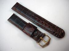 "Mens Short Brown Watch Band JB Champion Vintage Baby Alligator 5/8"" 16mm Gold Tn"