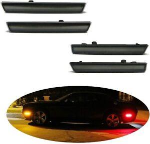 For 2015-2020 Dodger Challenger LED Side Bumper Marker Light Smoked FRONT & REAR