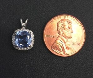 14k White Gold Over 925 Sterling Silver Cushion Cut Aquamarine Halo Pendant