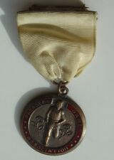 Vtg Red Enamel Track Shot Put Medal Pin Pasadena Games Association CA California