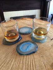 Blue Agate Stone Coasters (Large) - Set of 4 - Natural Edges - Soft Rubber Feet