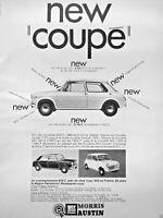 PUBLICITÉ DE PRESSE 1968 AUSTIN NEW COUPÉ 1100 MINI 1000 B.M.C 400 EN FRANCE