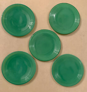 "5 - Vintage Green Jadeite Small Doll Play Plates 3.25"" diameter"