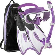 New listing Cressi Palau Long Mask Fin Snorkel Set XS/S Mens 2-4 Womens 3-5 Brisbane Lilac