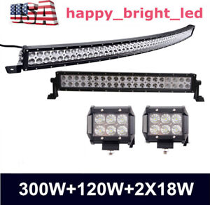 "300W 52""inch Curved Led Light Bar+120W 22"" Led Work Light+2X 4"" 18W LED Pods"
