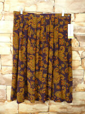 Vintage Alfred Dunner Skirt  Elastic Waist Silk Brown Paisley Size 22 W Pleated