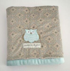 BLANKETS & BEYOND Plush Gray Blue Owl Flowers Baby Blanket Lovey