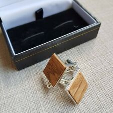 English Oak and  Silver Plated cufflinks  5th anniversary,Christmas gift