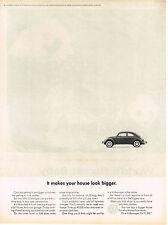 Vintage 1964 Magazine Ad Volkswagen Bug Makes Your House Look Bigger