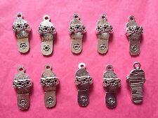 Tibetan silver flip flop/pantoufle charms - 10 par paquet