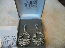 NOLAN MILLER Signed Earrings Exotic Animal Print Black & Clear Austrian CRYSTALS