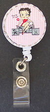 Hearts BETTY BOOP Retractable Reel ID Card Badge Holder/Key Ring Chain Keychain