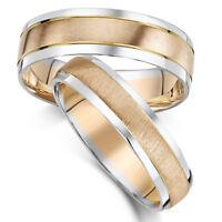 9ct PER LUI E PER LEI Fedi nuziali due colori oro anelli 5&6mm BANDE