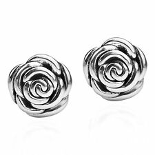 Gorgeous Dimensional Rose .925 Sterling Silver Post Earrings