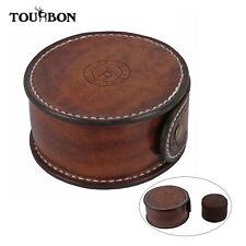 TOURBON Genuine Leather Wrist Watch Holder Case Storage Pouch Hard Shell Travel