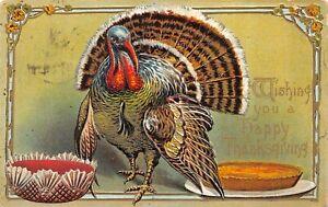 Happy Thanksgiving Turkey Pie Vintage Embossed Postcard Posted 1914