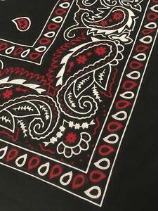 "Extra large 27"" red black paisley cotton bandana XL cowboy scarf handkerchief"