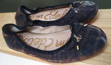SAM EDELMAN Black & Gold Metallic Felice Ballet Flats Shoes 8-1/2 Logo Charm Bow