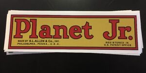 """Planet Jr. Decal Walking Tractor BP1 Plow 10-1/4"""" Antique Gold Red Black"""