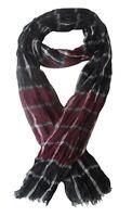 Foulard, chèche écharpe pour homme bordeau et noir, 180 x 60 cm.