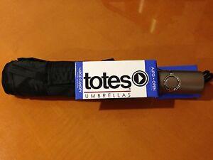 NEW Totes Kids Ladies Mens Signature Large Auto Open Compact Umbrella Black