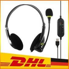 USB Headset Kopfhörer mit Mikrofon Laptop PC Computer Headphone Telefon DHL
