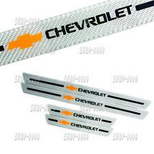 4Pcs Set Chevrolet C.Fiber Car Door Welcome Plate Sill Scuff Cover Panel