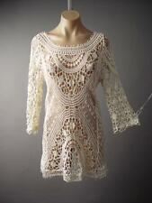 Ivory Cream Crochet Boho Hippie 60s 70s Pullover Top Blouse 129 ac Tunic S/M