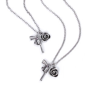 Guns N' Roses Charm Necklace & Bracelet Set