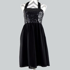Limited Edition Target Womens Halter Dress 6 Chiffon Sequin Black Fit Flare kg1